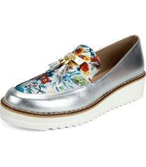 zapato borlas plata folia emilia