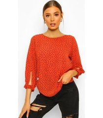 geweven blouse met mouwstrikjes en stippen, orange