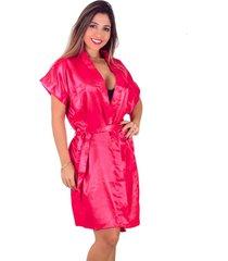 robe   vip lingerie acetinado vermelho - kanui