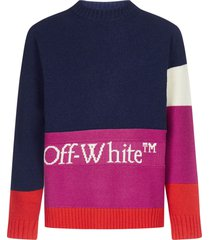 off-white logo color-block wool sweater