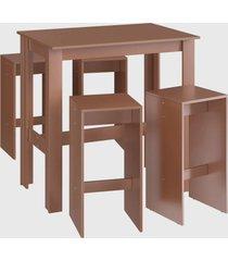 conjunto mesa bancada 4 banqueta alta ceramic mã³veis canã§ã£o marrom - marrom - dafiti
