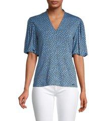 t tahari women's printed puffed-sleeve blouse - blue print - size m