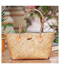 leather accent rattan handle handbag, 'brown summer braids' (indonesia)