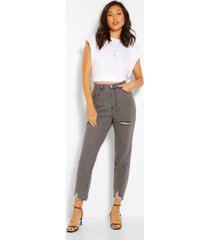 skinny jeans met gerafelde zoom, grijs