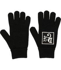 dolce & gabbana embroidered-logo gloves - black
