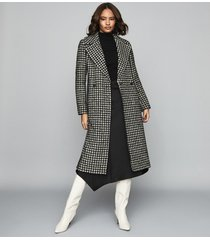 reiss celia - dogtooth check overcoat in monochrome, womens, size 10