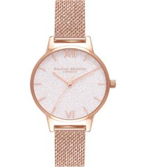olivia burton women's classics rose gold-tone stainless steel mesh bracelet watch 30mm
