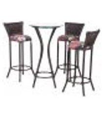 jogo mesa bistrô com 3 banquetas moscou pedra ferro a05 para cozinha edicula bar varanda jardim