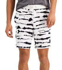 """inc men's regular-fit tie-dyed stripe 8"""" french terry shorts, created for macy's"""