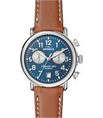 shinola the runwell chronograph leather strap watch, 41mm