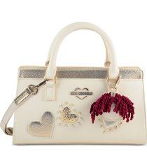 love moschino designer handbags, ivory & gold eco leather small tote bag w/charm