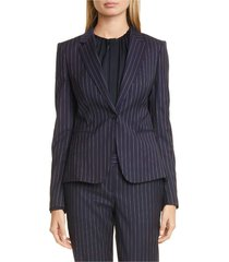 blazer wool pinstriped notched