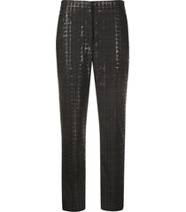 brunello cucinelli sequinned checkered tapered trousers - grey