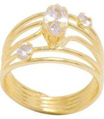 anel 5 fios semijoia banho de ouro 18k zirconia pedra navete central e duas pedras redondas laterais - feminino