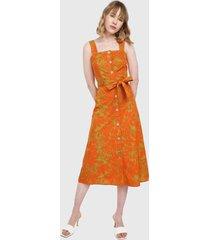 vestido naranja-verde mng