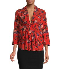 iro women's floral ruched top - red - size 34 (2)