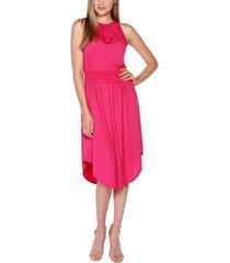 belldini black label petite embellished halter dress with smocked waist