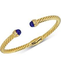 howlite & diamond (1/10 ct. t.w.) cuff bangle bracelet in 14k gold-plated sterling silver (also in onyx, jade, lapis lazuli & malachite)