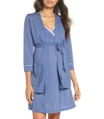 women's belabumbum maternity/nursing robe & chemise, size medium - blue