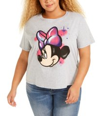 mighty fine trendy plus size cotton minnie mouse cropped graphic t-shirt