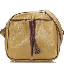 cartier must de leather crossbody bag brown, light brown, red, bordeau sz: m