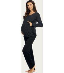 lupoline zwangerschapspyjama / voedingspyjama black dots