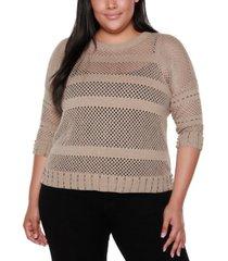belldini black label plus size crew neck 3/4 sleeve sweater