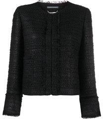 alberta ferretti crocheted cropped jacket - black