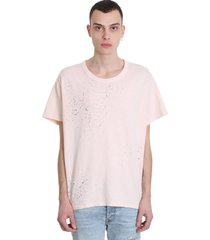 amiri t-shirt in rose-pink cotton