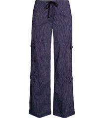 theory women's striped cotton & linen wide-leg utility pants - navy ivory - size 0