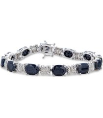 black sapphire (25 ct. t.w.) & diamond accent link bracelet in sterling silver