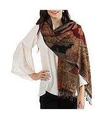 jamawar wool shawl, 'mughal exuberance' (india)