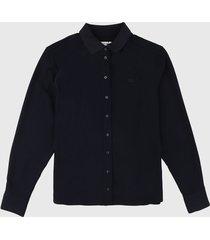 camisa azul oscuro lacoste