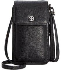 giani bernini softy leather tech crossbody wallet, created for macy's