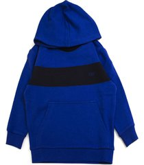 fay blue cotton contrast stripe hoodie