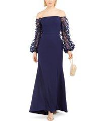 eliza j off-the-shoulder mesh-sleeve gown