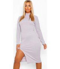 plus geribbelde midi jurk met col en voorsplit, grey