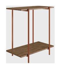 mesa lateral vermont/est. cobre artesano marrom/cobre