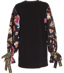 versace jeans couture branded ribbon dress in black