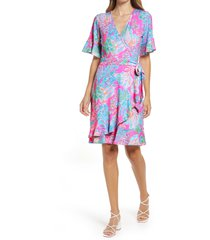 lilly pulitzer(r) isella print wrap dress, size medium in prosecco pink seaing things at nordstrom