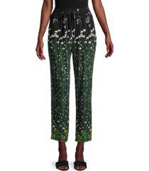 redvalentino women's floral silk pants - nero - size 40 (8)
