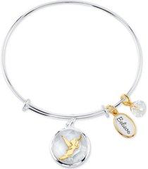 disney tinkerbell shaker bangle bracelet in two-tone stainless steel