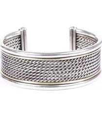 david yurman wheaton sterling silver 18k gold cuff bracelet silver sz:
