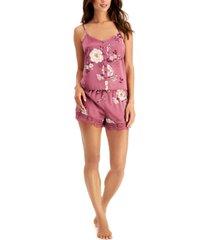 inc floral-print cami & shorts pajama set, created for macy's