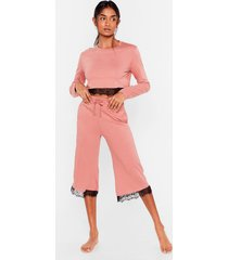 womens set the lace jersey culotte pajama set - rose