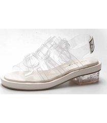 sandali tacco quadrato trasparenti con fasciatura