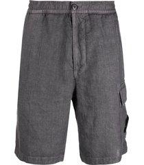stone island flap-pocket linen bermuda shorts - grey