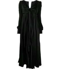 jw anderson tie front satin evening dress - black