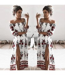 floral print off shoulder sexy dresses fashion women's split beach maxi dress