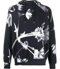 paul smith floral drawstring hoodie - black